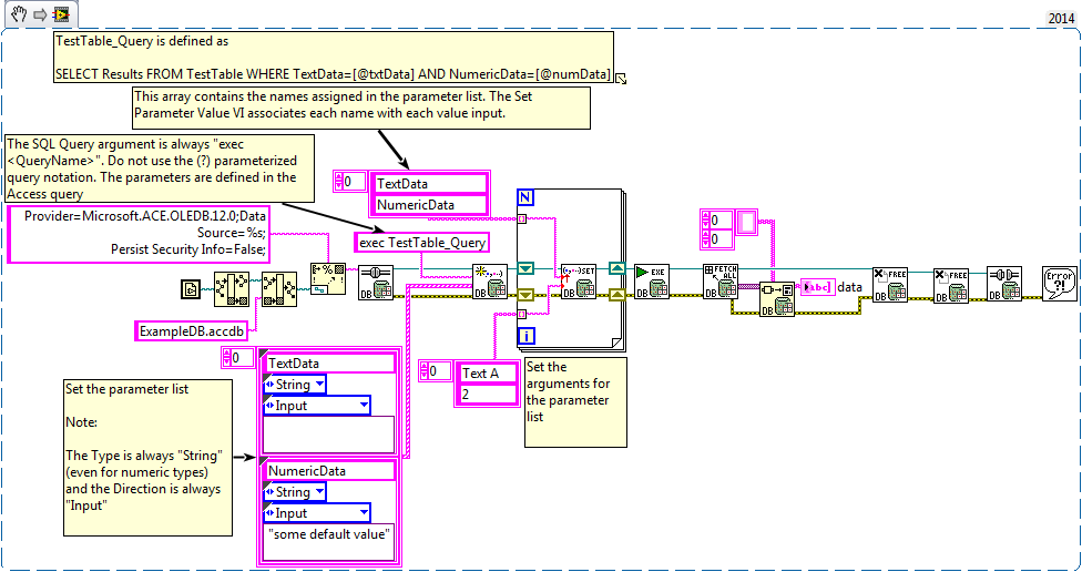 Calling Access Queries With Parameters From the LabVIEW